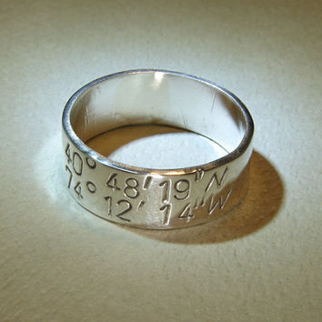 Sterling silver latitude longitude ring for your personalized coordinates