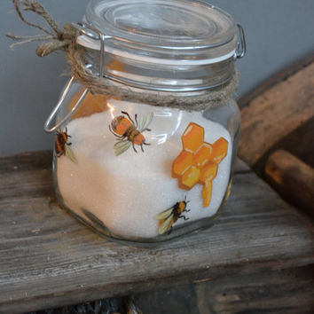 Hand Painted Storage Glass Jar wedding favor gift in Birthday, wedding party Honey Bees
