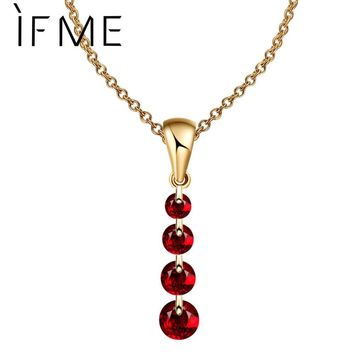 IF ME 8 Colors Fashion Women Silver Color Simple Necklace Gold Color Crystal Beads Pendants Chain Long Necklace Women Collars