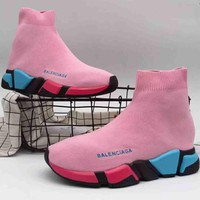 Balenciaga High Top Tide Brand Trendy Women Casual Stretch Sneakers F A36h My Pink