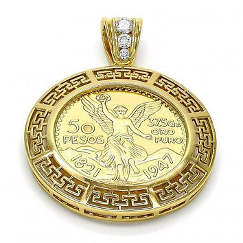 Gold Layered 05.26.0042 Religious Pendant, Greek Key and Angel Design, with White Cubic Zirconia, Polished Finish, Gold Tone
