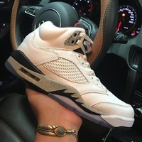 Air Jordan 5 Retro White Cement 136027-104 V White Men's Height Increasing Shoes Fashion Shoes Top Quality With Original Box US7-13
