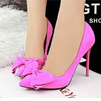 Women Pumps NEW Sexy High Heels Sweety bowtie Pointed Toe women Shoes pink suede wedding party office heels ALF171