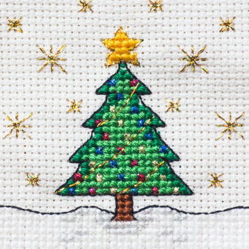 Christmas Tree Cross Stitch - 'Oh my sparkly' PDF Instant Download