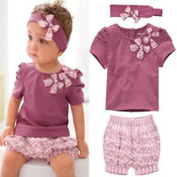 Baby Girl Summer Flower Print Short Sleeve Tshirt Pant Headband 3 PCS Set