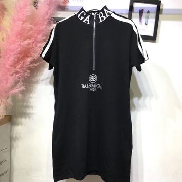 Balenciaga Upright Neck Zipper Dress