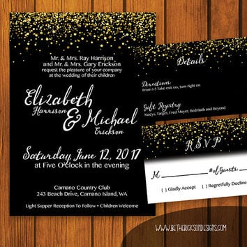 Formal Wedding Invitation / Black, White, Gold Wedding Suite / Gold Glitter / Invitation Suite / Formal / Traditional / Wedding