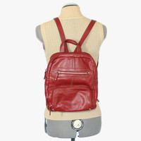 Vintage dark red backpack by Pelle Studio. Pebble leather mini rucksack. Sling bag. Organizer. Hobo bag. Shoulder bag. Wine color.