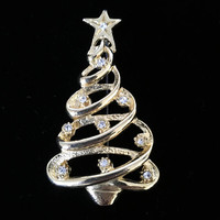 Rhinestone Christmas Tree Pin, Gold Tone Holiday Brooch, Vintage Winter Hat Flair, Modernist Jewelry