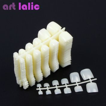 500 100 Pcs  Natural Round Nail Full Cover Acrylic UV Gel False Artificial Toe Tips Decoration Artlalic