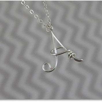 FREE SHIPPING!!!  Initial A Wire Word Pendant Necklace Cursive