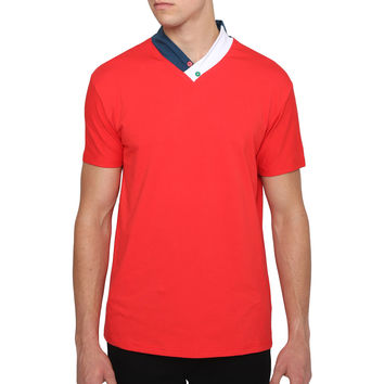 Mens Casual Short Sleeve V Neck Low Collar T Shirt with Button Design