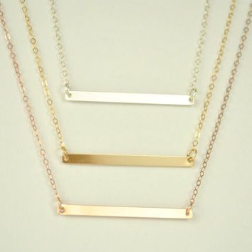Skinny Bar Necklace,long horizontal bar necklace, silver bar necklace, skinny bar, silver necklace, rose gold large bar necklace,//N-115