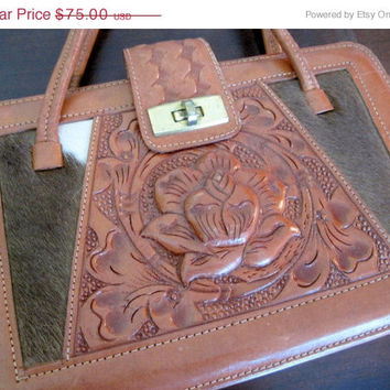 Vintage Hand Tooled Cowhide Leather Purse