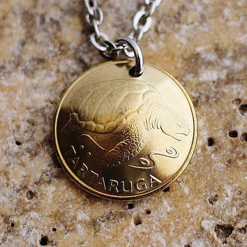 Sea Turtle Necklace Domed Coin Necklace Pendant Cape Verde 1 Escudo Coin 1992 Coin Animal Jewelry by Hendywood
