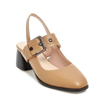 Square Toe Mary Janes Mid Heel Sandals Summer Shoes 6423