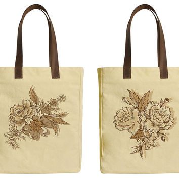 Hand Drawn of Flowers Beige Printed Canvas Tote Bags Leather Handles WAS_30