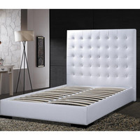 Queen Size Modern Platform Bed with White Faux Leather Headboard