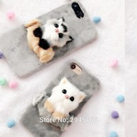 Christmas Cute Cat Case for iPhone X 5 SE 6 6s 6splus 7 8 Plus Soft Fur Plush Hard Shell Phone Back cover DIY 3D Cat Funda Coque