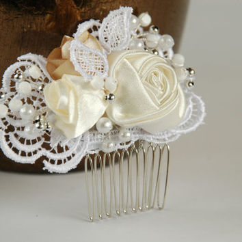 Rose lace wedding  hair comb, Bridal hair comb, Pearl hair comb, Lace hair comb,Lace wedding hair comb, Bridal headpiece, Wedding hadpiece
