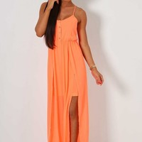 Luana Orange Neon Maxi Dress | Pink Boutique