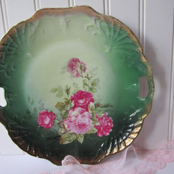 Antique Three Crown China Pink Green Floral German Cake Plate - Cottage Chic