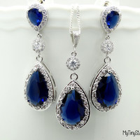 Dark Blue Wedding Earrings and Necklace Set  Bridal Jewelry Navy Blue Earrings Wedding Jewelry Post Earrings Sterling silver Necklace