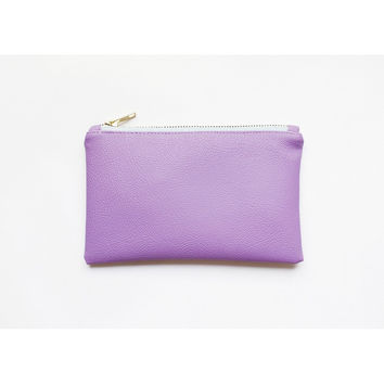 VIDA Leather Statement Clutch - Lavender Fields 2 by VIDA