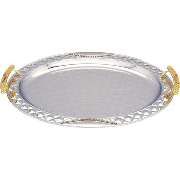 Sterlingcraft® Oval Serving Tray with Gold-Tone Handles