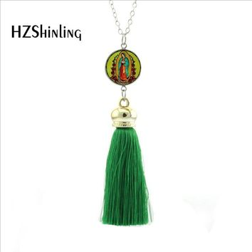 Lady of Guadalupe Tassel Necklace Virgin Mary