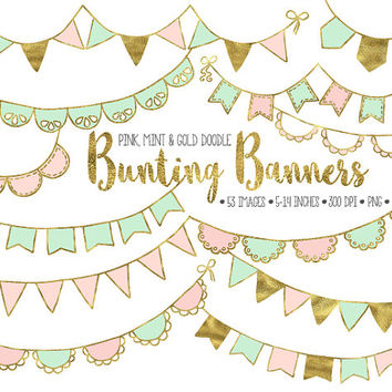 ON SALE. Gold Bunting Banner Clip Art. Mint & Pink Bunting Clipart. Gold Glitter Party Garlands. Birthday, Wedding, Baby Shower Banners.