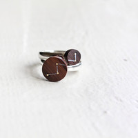 Constellation ring - Double ring - Ring set - Space jewelry - Ring wood