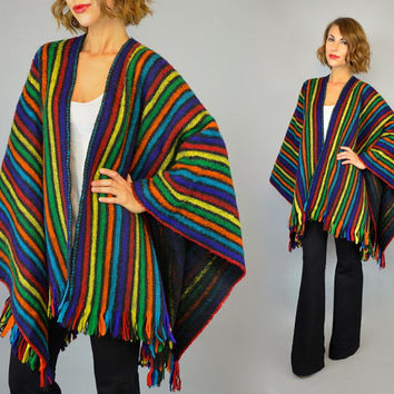 RAINBOW STRIPE vtg 80s boho hippie bright multicolored fringed BLANKET poncho cape, one size fits all