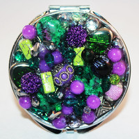 Green and Lilac Mirror Compact - Jeweled Compact Mirror
