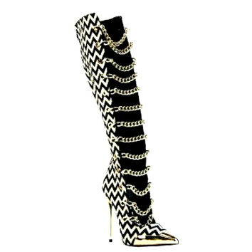 Obsessed Black White Chevron Chains Knee-High Pointy Toe Boots Stiletto Heels
