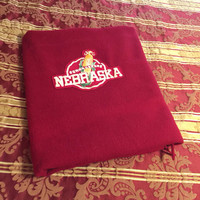 Nebraska Stadium blanket, Cornhusker, Red wool throw, Vintage, Pendleton woolen Mills 100% Virgin wool