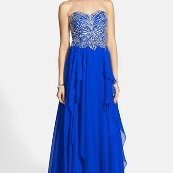 Women's Alyce Paris Embellished Layered Chiffon Strapless Gown,