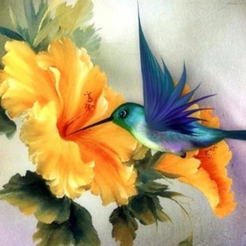 5D Diamond Painting Flower and Hummingbird Kit