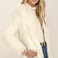 Wyldr Heidi Cream Faux Fur Jacket