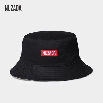 NUZADA Classic Men Women Couple Bucket Hat Caps Summer Autumn Spring Fisherman Panama Cotton Double Layer Fabric Sunscreen Hats