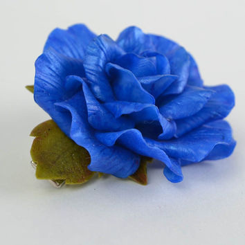 Beautiful blue molded cold porcelain flower hair clip hand made