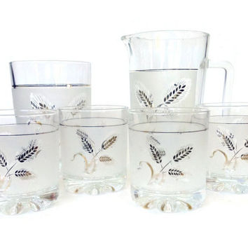Home Bar Starter Set, Whiskey Glasses, Ice Bucket, Cocktail Pitcher, Italy, Gold Wheat