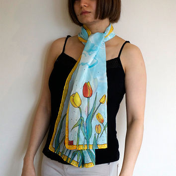 Too-Lip scarf, floral handpainted silk scarf, unique handmade scarf, tulips, floral silk scarf, blue cloud, gift for her, wear to work