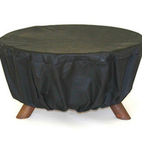 New 30 Inch Outdoor Round Black Vinyl Fire Pit Protective Weather Cover