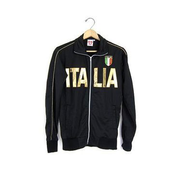 ITALIA Track Jacket Black Gold Zip Up Mens Womens Hipster 90s Sports Italian Vintage Coat XS