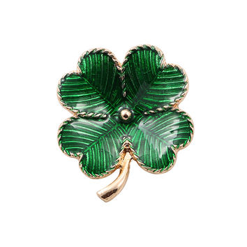 Free shipping Fashion new drop glaze clovers lucky grass brooch sets