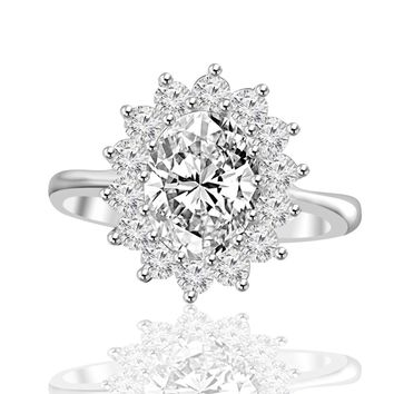 2.5 CT. Radiant Oval Halo Engagement Sterling Silver Ring Simulated Diamond - Diamond Veneer 635R3229
