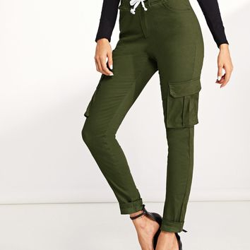 f024e3158414 Pocket Patched Drawstring Skinny Jeans