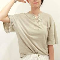 Apricot Lace Collar Short Sleeve T-Shirt