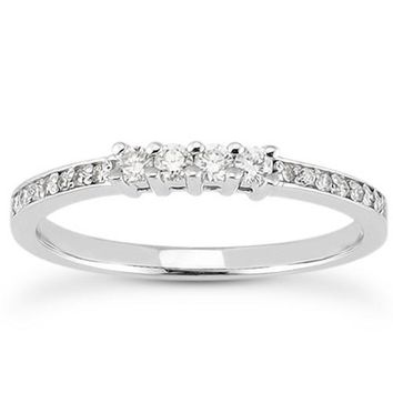 14k White Gold Wedding Band with Pave Set Diamonds and Prong Set Diamonds, size 9